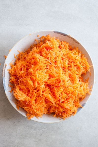 grated carrot in a bowl
