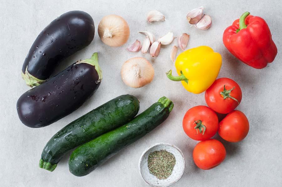 składniki na ratatouille