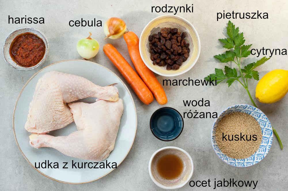 składniki na udka z kurczaka z harissą