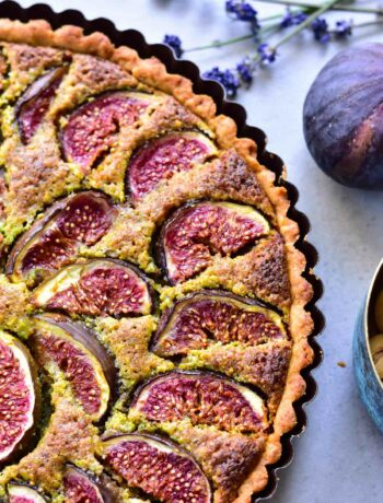 close up picture of fig and pistachio frangipane tart