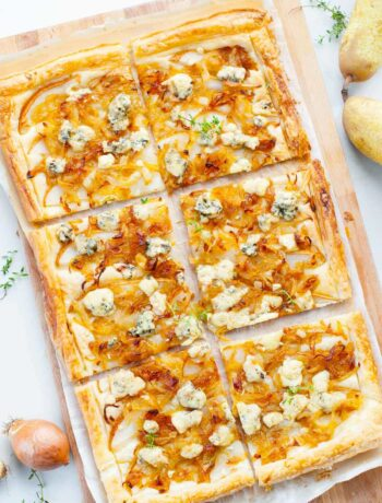 puff pastry onion tart with pear and blue cheese