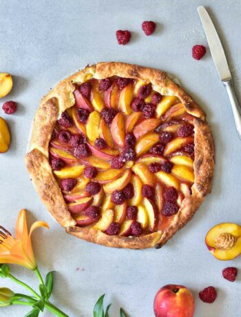 nectarine galette with raspberries