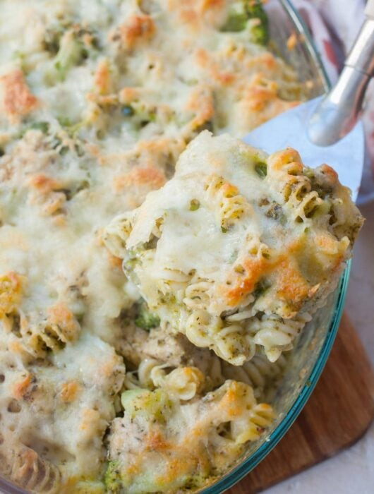 Pesto chicken bake in a casserole dish.
