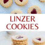 Linzer cookies pinnable image.