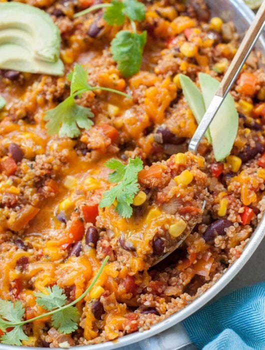 Mexican quinoa in a frying pan.